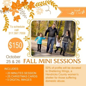 Fall Mini Sessions to Benefit Sheltering Wings