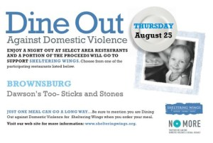 Dine Out Against Domestic Violence @ Dawson's Too-Sticks and Stones   Brownsburg   Indiana   United States