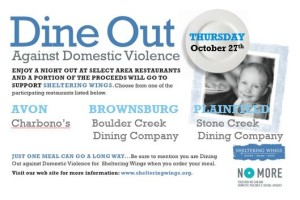 Dine Out Against Domestic Violence @ Charbonos, Boulder Creek, Stone Creek